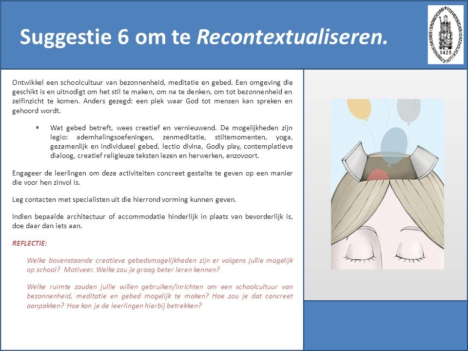 Suggestie 6 om te Recontextualiseren.