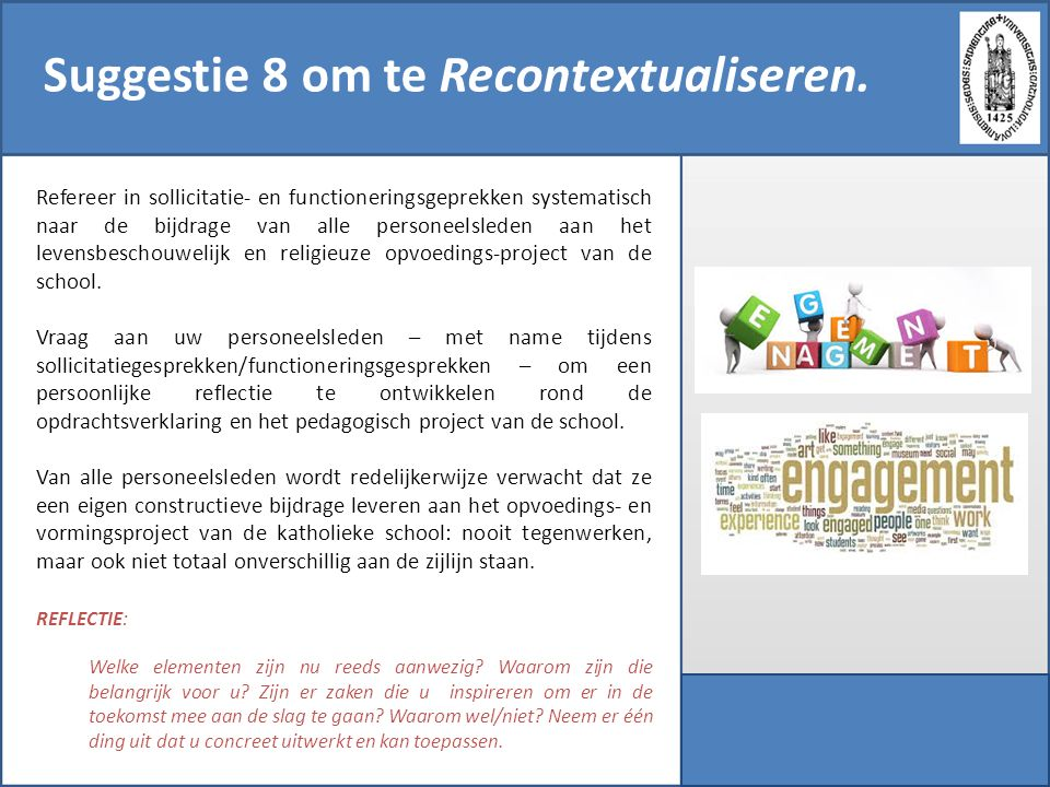 Suggestie 8 om te Recontextualiseren.