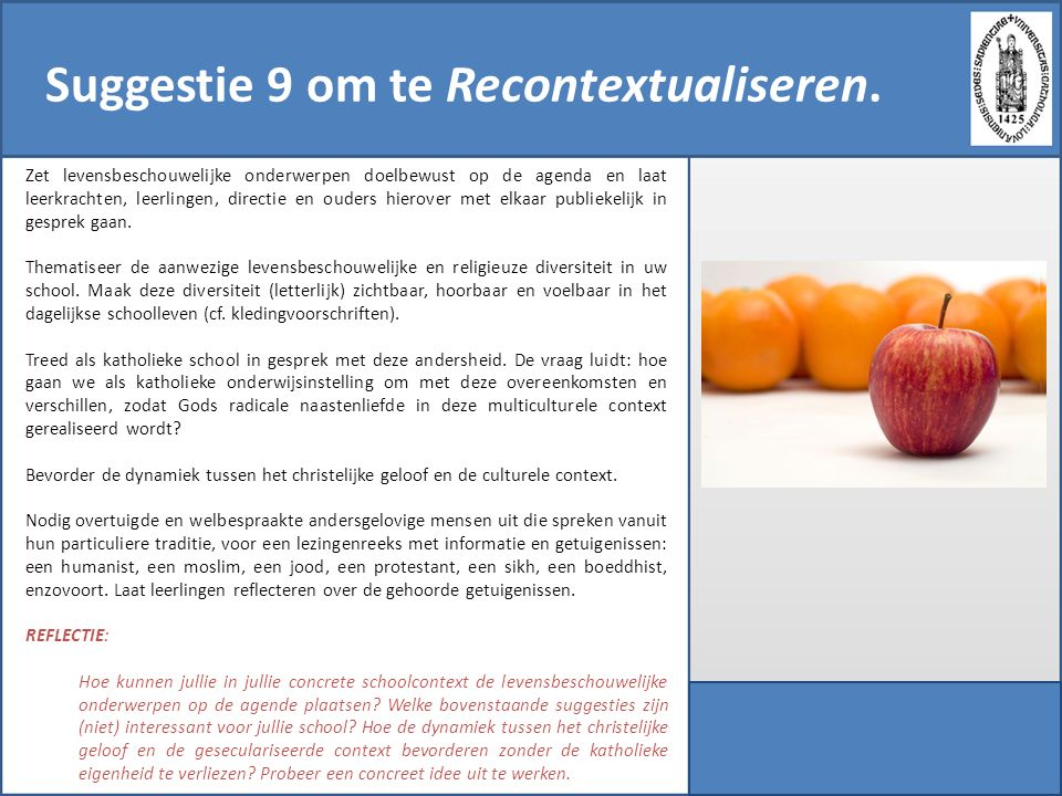 Suggestie 9 om te Recontextualiseren.
