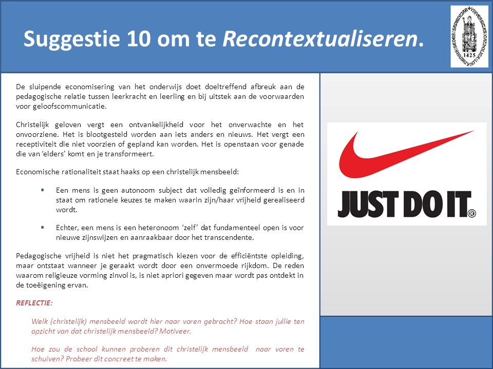 Suggestie 10 om te Recontextualiseren.