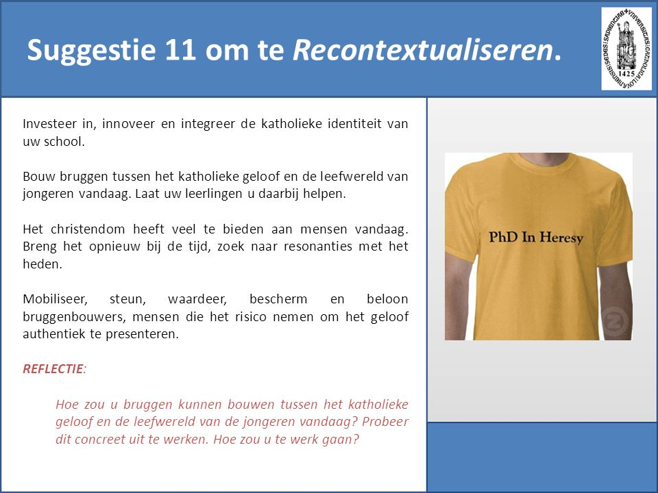 Suggestie 11 om te Recontextualiseren.
