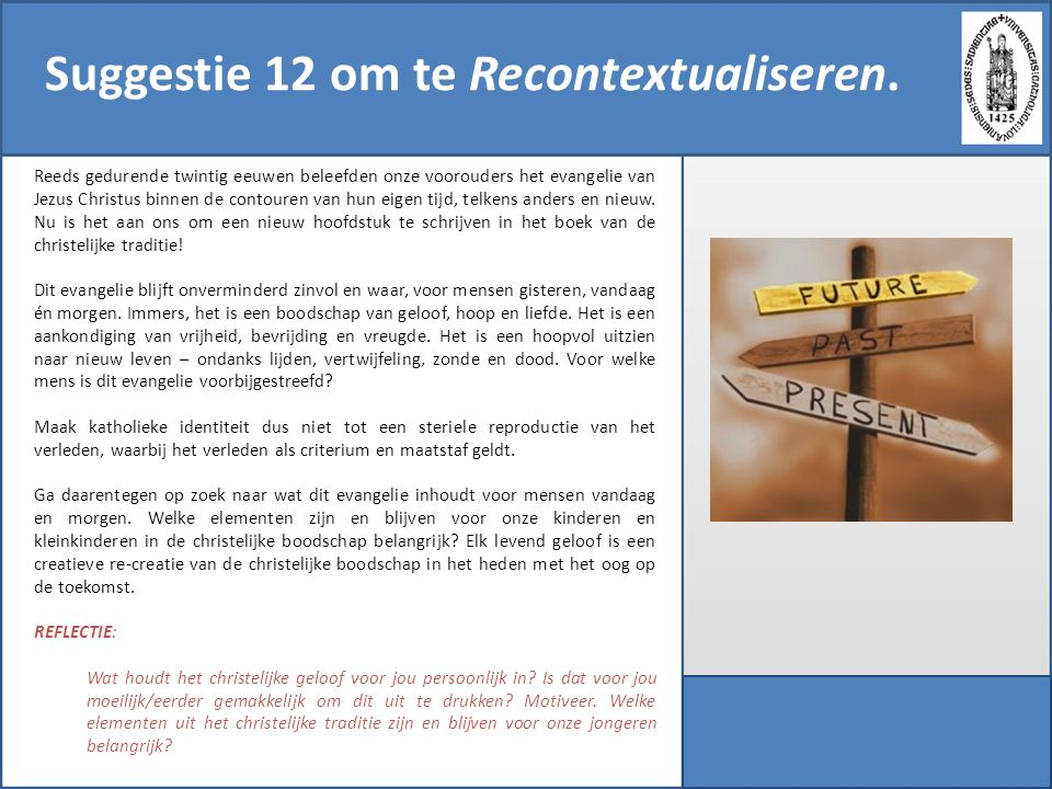 Suggestie 12 om te Recontextualiseren.