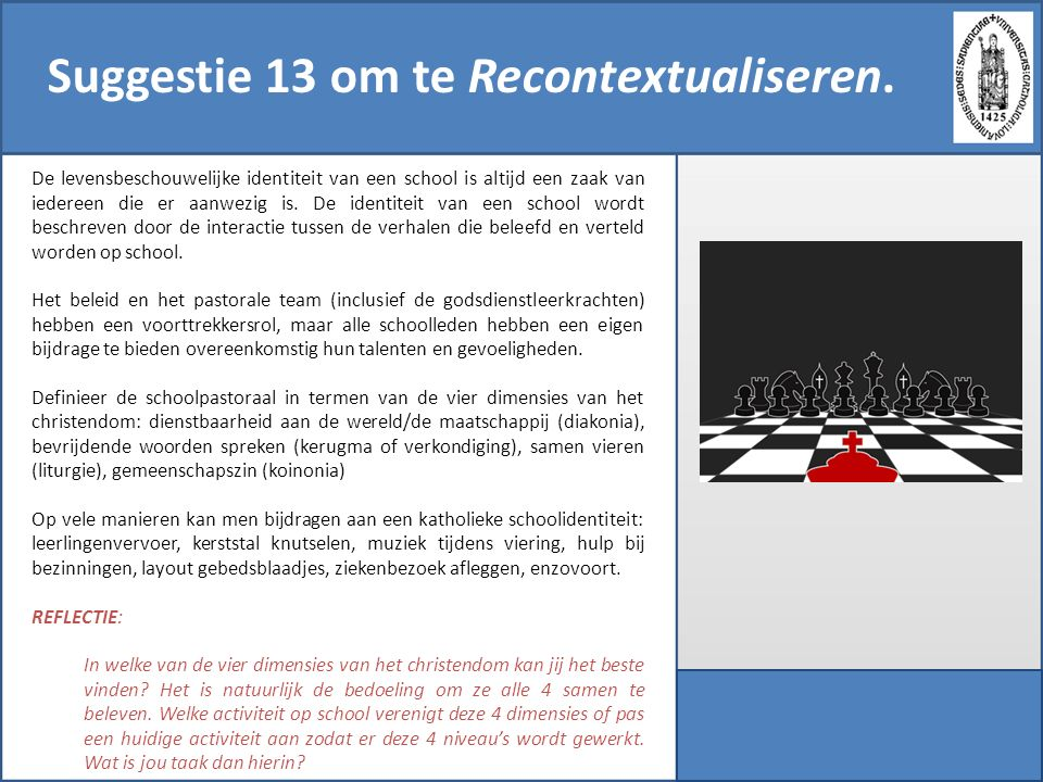 Suggestie 13 om te Recontextualiseren.