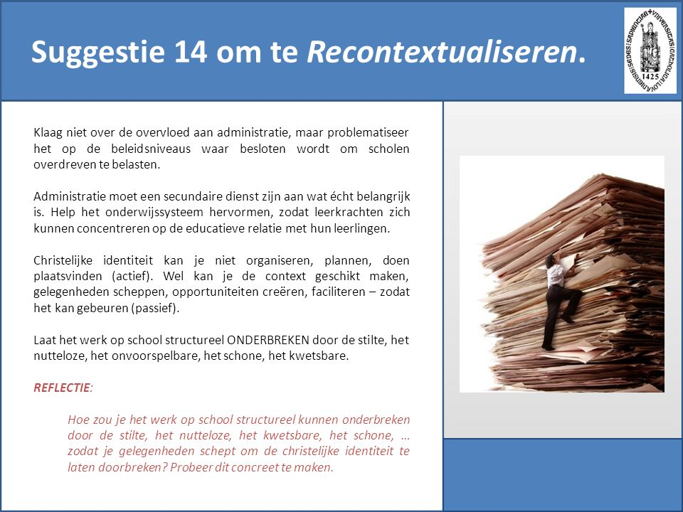 Suggestie 14 om te Recontextualiseren.