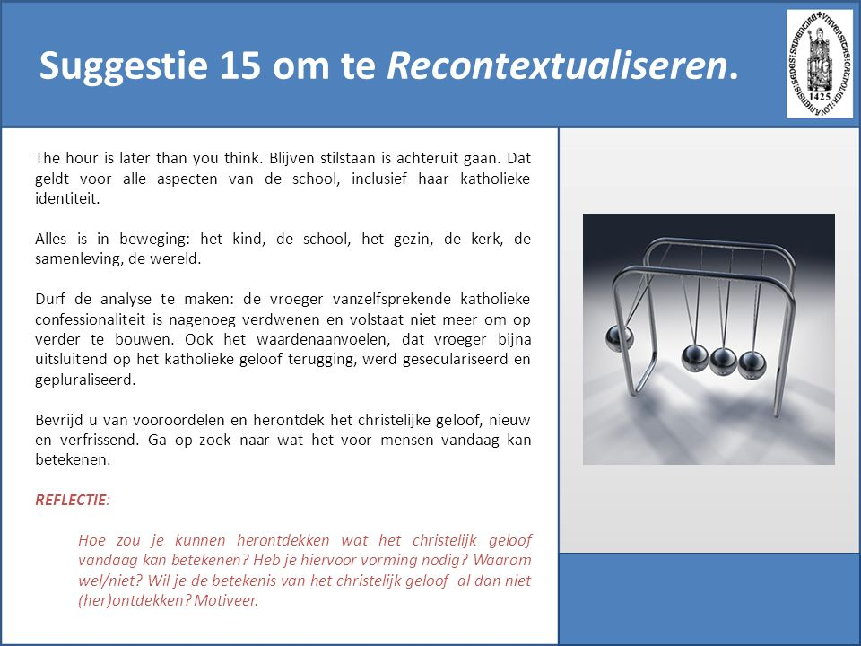 Suggestie 15 om te Recontextualiseren.