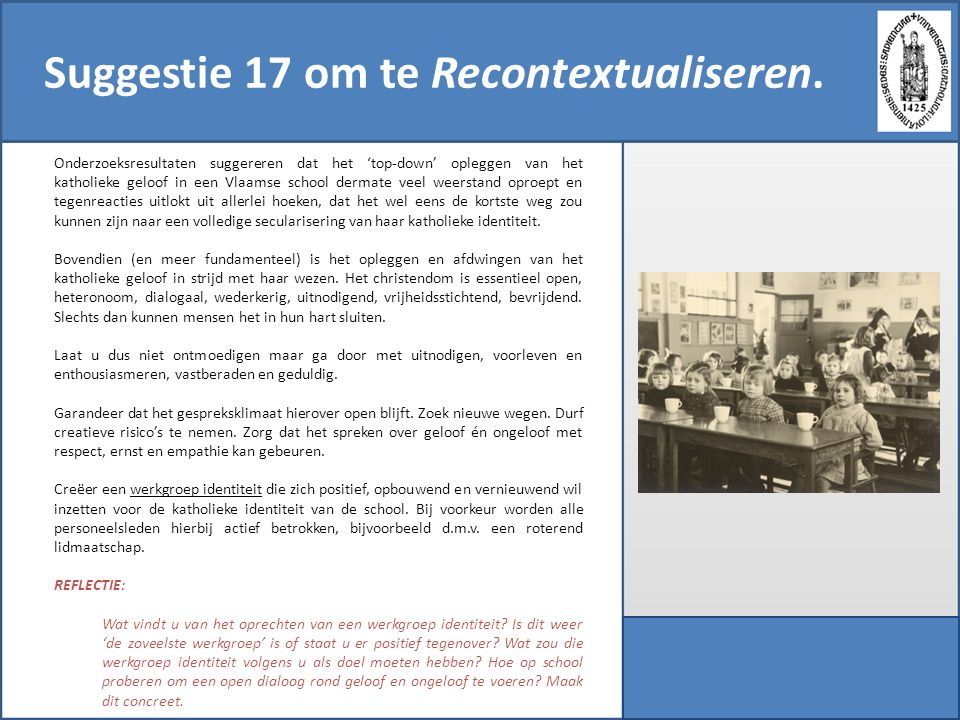 Suggestie 17 om te Recontextualiseren.
