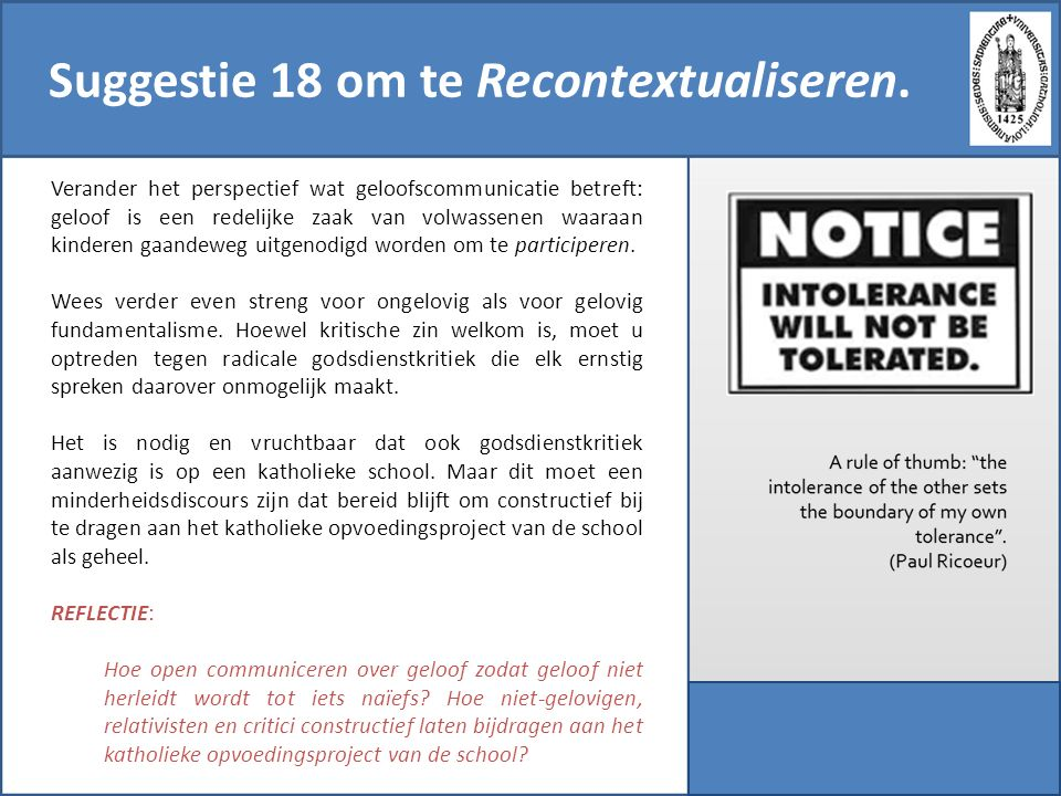Suggestie 18 om te Recontextualiseren.