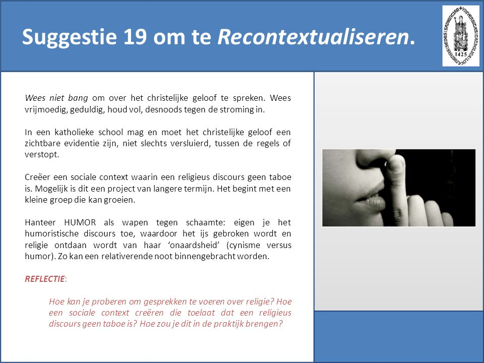 Suggestie 19 om te Recontextualiseren.