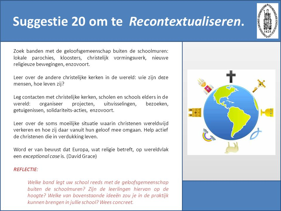 Suggestie 20 om te Recontextualiseren.