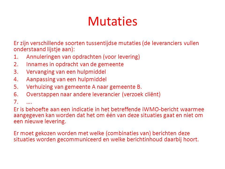 Mutaties Er zijn verschillende soorten tussentijdse mutaties (de leveranciers vullen onderstaand lijstje aan):