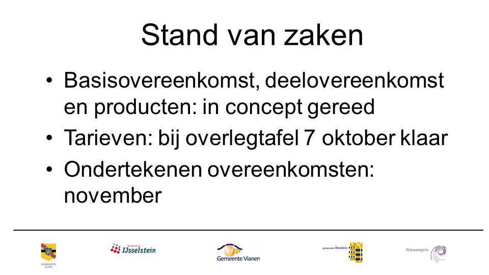 Stand van zaken Basisovereenkomst, deelovereenkomst en producten: in concept gereed. Tarieven: bij overlegtafel 7 oktober klaar.
