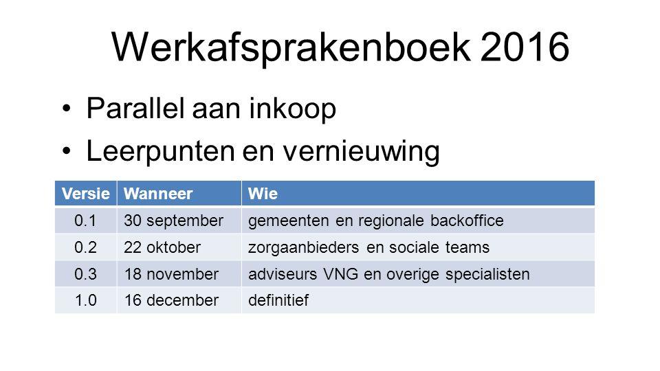 Werkafsprakenboek 2016 Parallel aan inkoop Leerpunten en vernieuwing