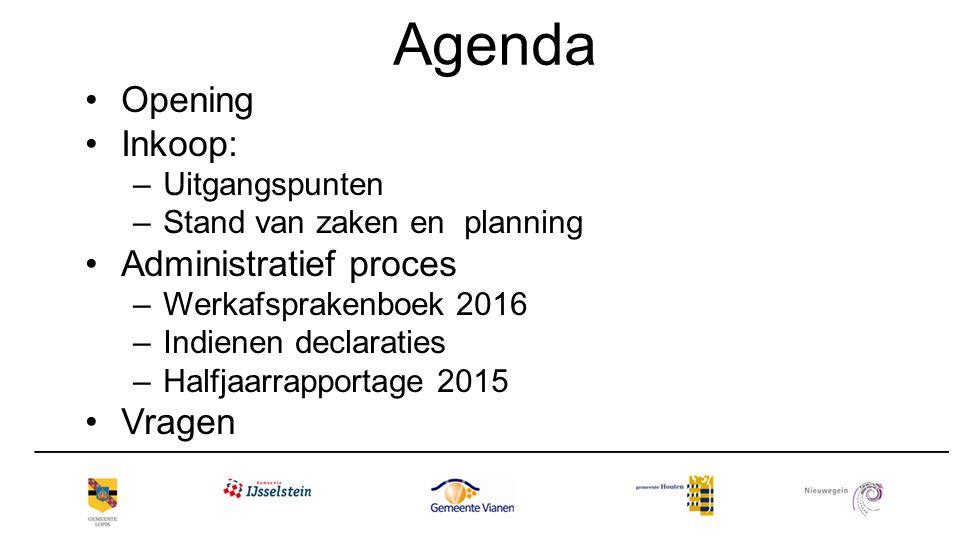 Agenda Opening Inkoop: Administratief proces Vragen Uitgangspunten