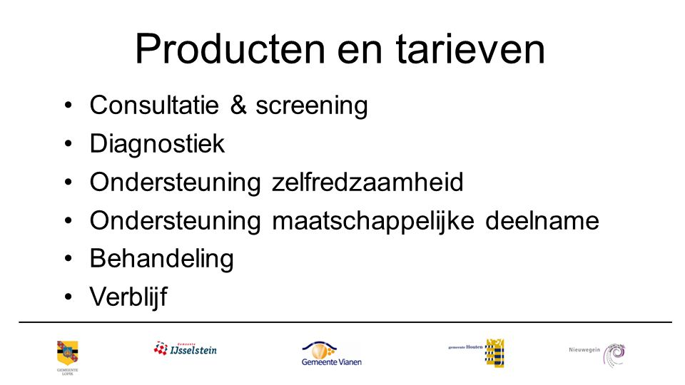 Producten en tarieven Consultatie & screening Diagnostiek
