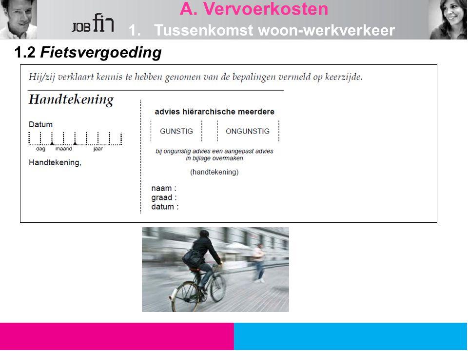 A. Vervoerkosten 1. Tussenkomst woon-werkverkeer 1.2 Fietsvergoeding