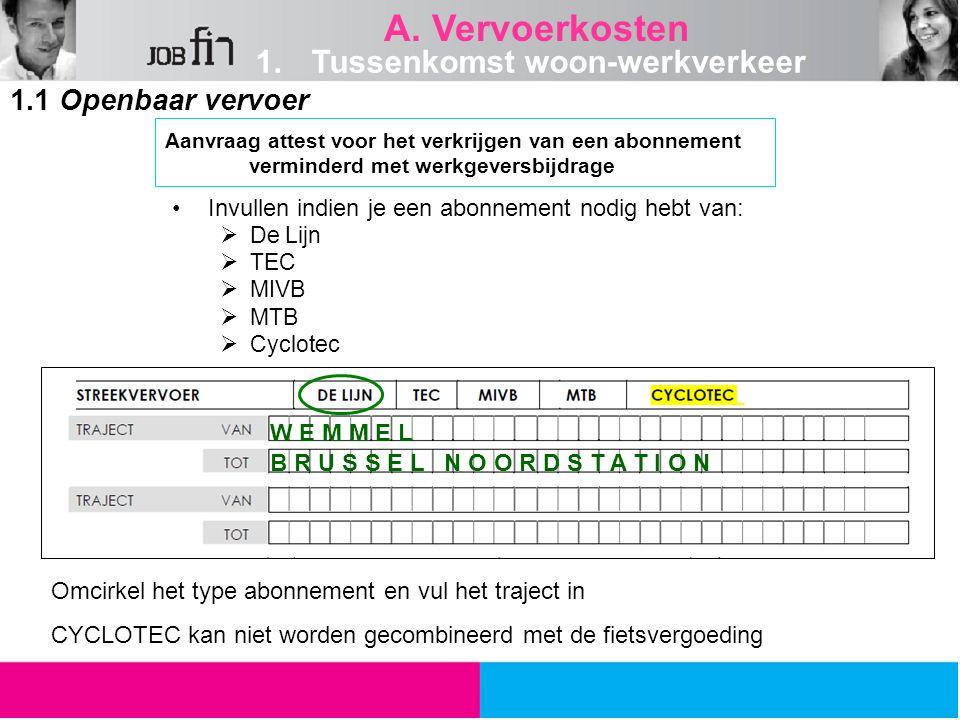 A. Vervoerkosten Tussenkomst woon-werkverkeer 1.1 Openbaar vervoer