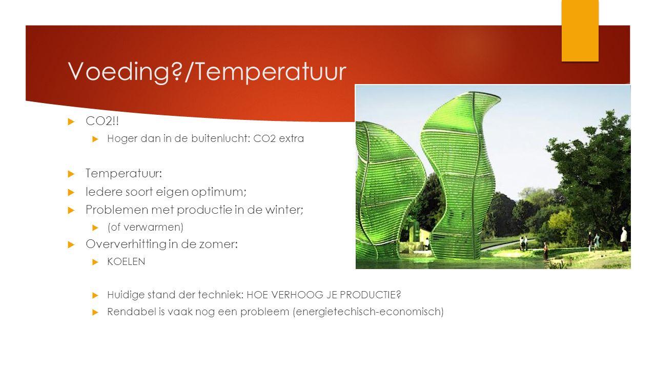 Voeding /Temperatuur CO2!! Temperatuur: Iedere soort eigen optimum;