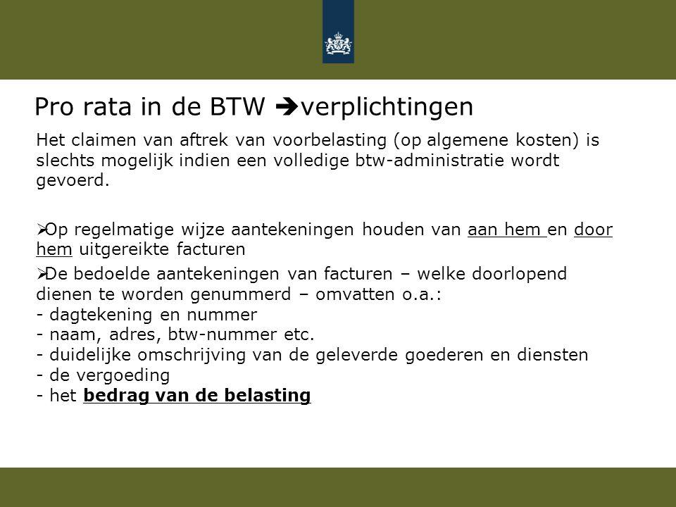 Pro rata in de BTW verplichtingen