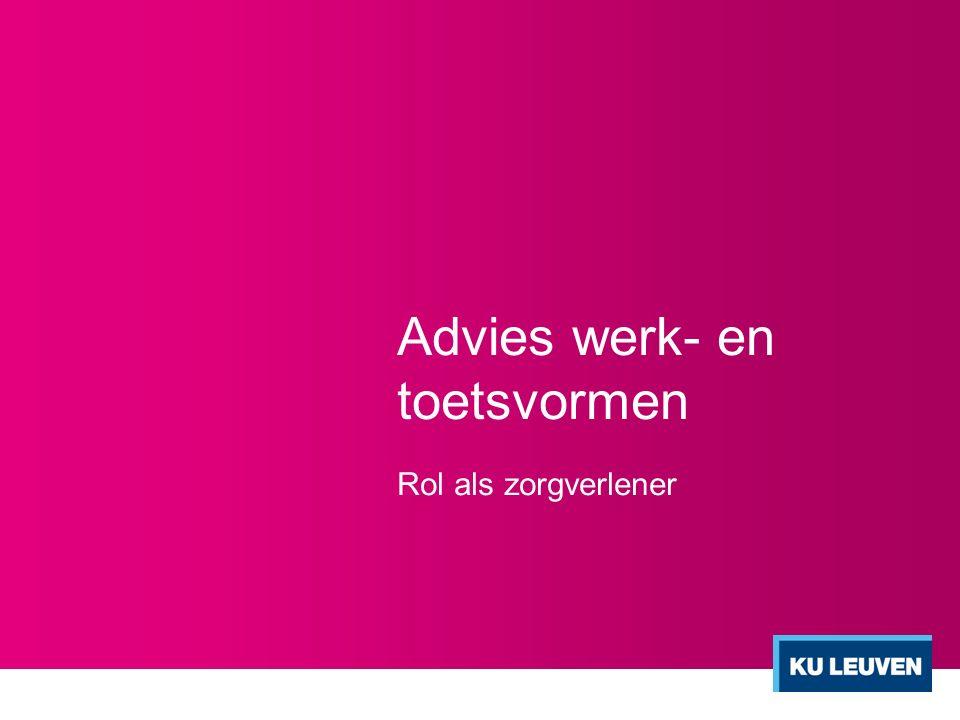 Advies werk- en toetsvormen