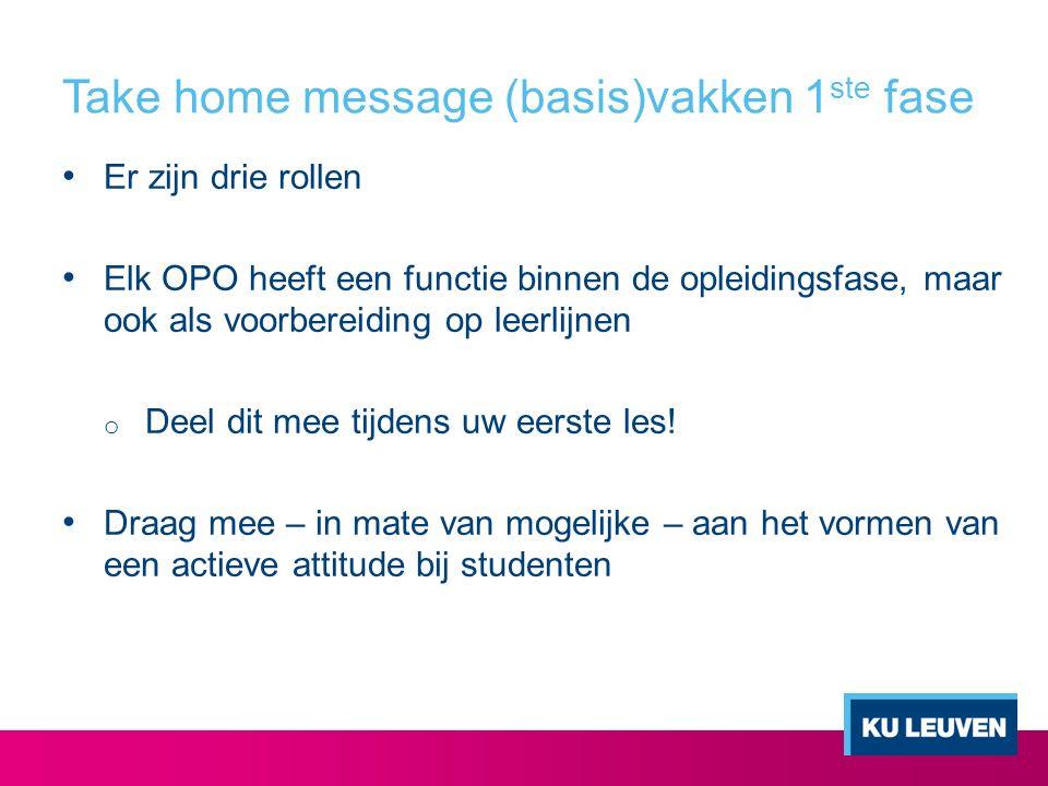 Take home message (basis)vakken 1ste fase