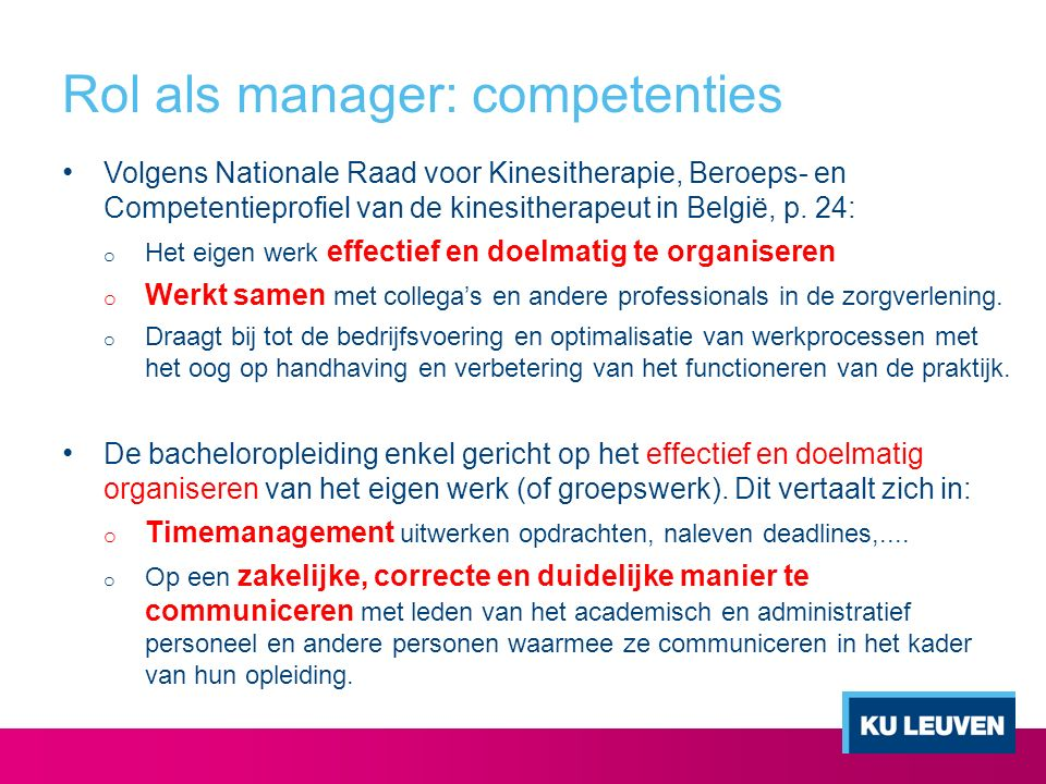 Rol als manager: competenties
