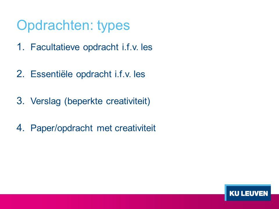 Opdrachten: types Facultatieve opdracht i.f.v. les