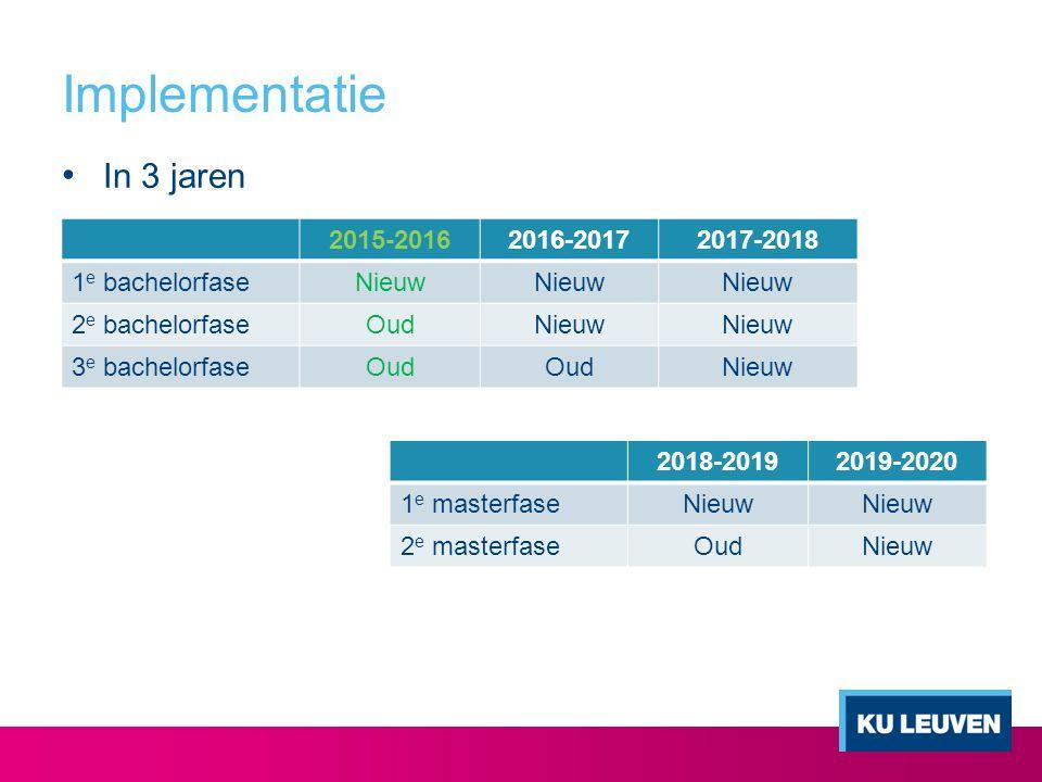Implementatie In 3 jaren 2015-2016 2016-2017 2017-2018 1e bachelorfase