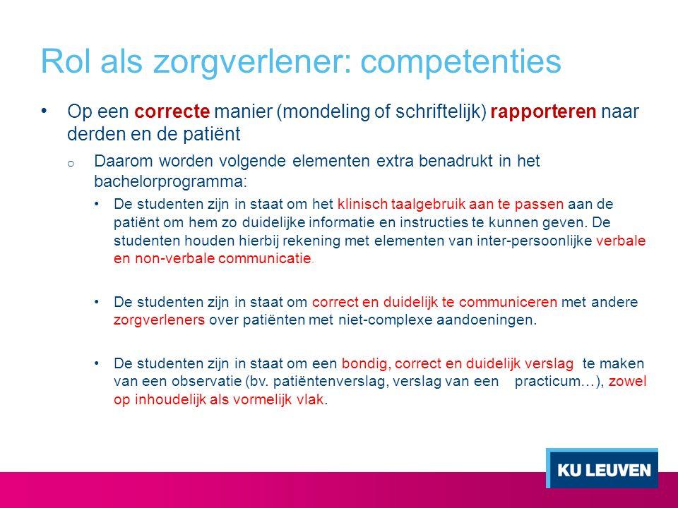 Rol als zorgverlener: competenties