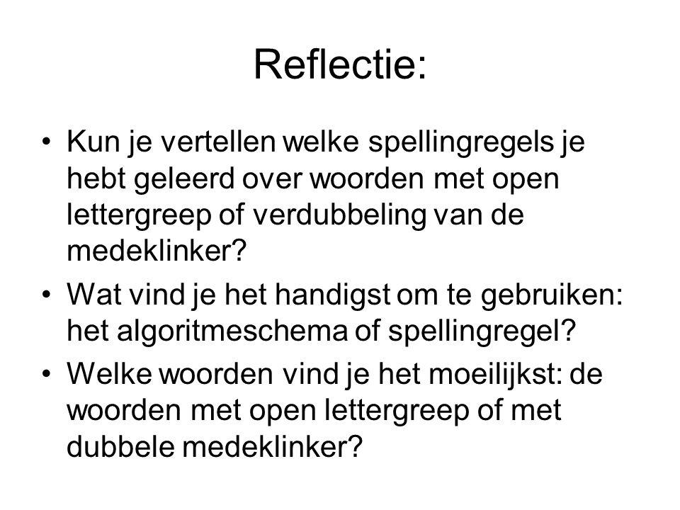Reflectie: Kun je vertellen welke spellingregels je hebt geleerd over woorden met open lettergreep of verdubbeling van de medeklinker