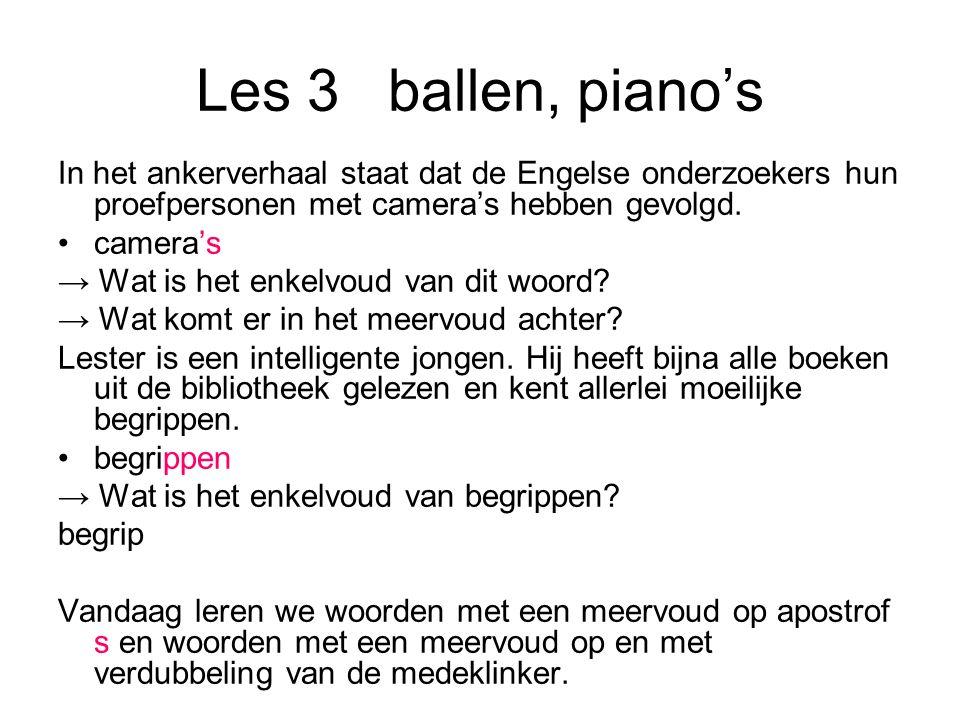 Les 3 ballen, piano's In het ankerverhaal staat dat de Engelse onderzoekers hun proefpersonen met camera's hebben gevolgd.