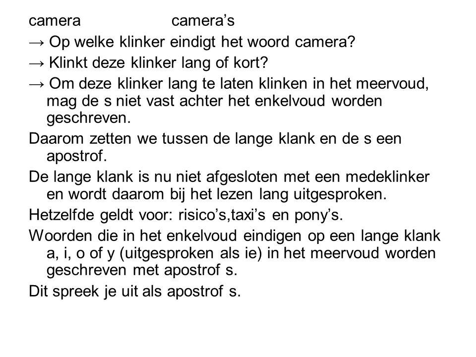 camera camera's → Op welke klinker eindigt het woord camera → Klinkt deze klinker lang of kort