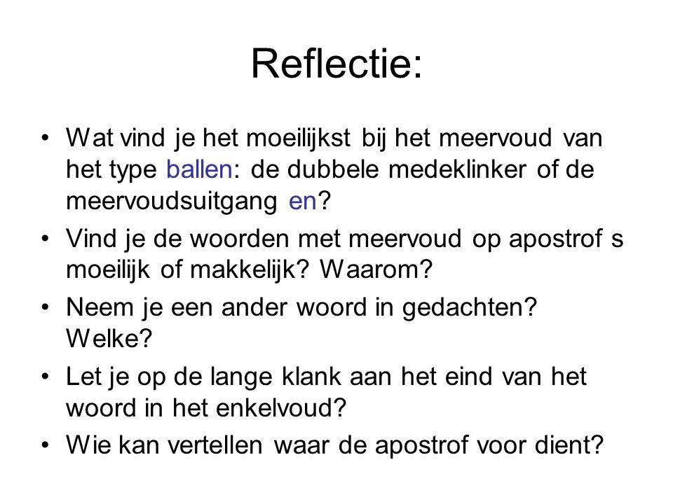 Reflectie: Wat vind je het moeilijkst bij het meervoud van het type ballen: de dubbele medeklinker of de meervoudsuitgang en