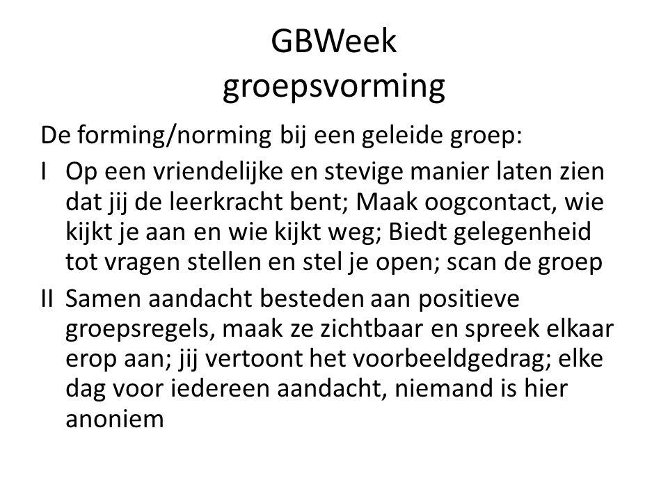 GBWeek groepsvorming De forming/norming bij een geleide groep: