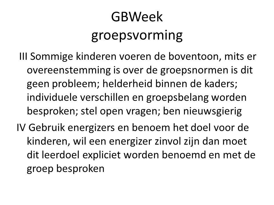 GBWeek groepsvorming