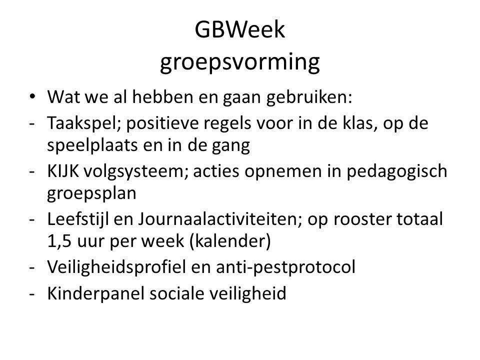 GBWeek groepsvorming Wat we al hebben en gaan gebruiken: