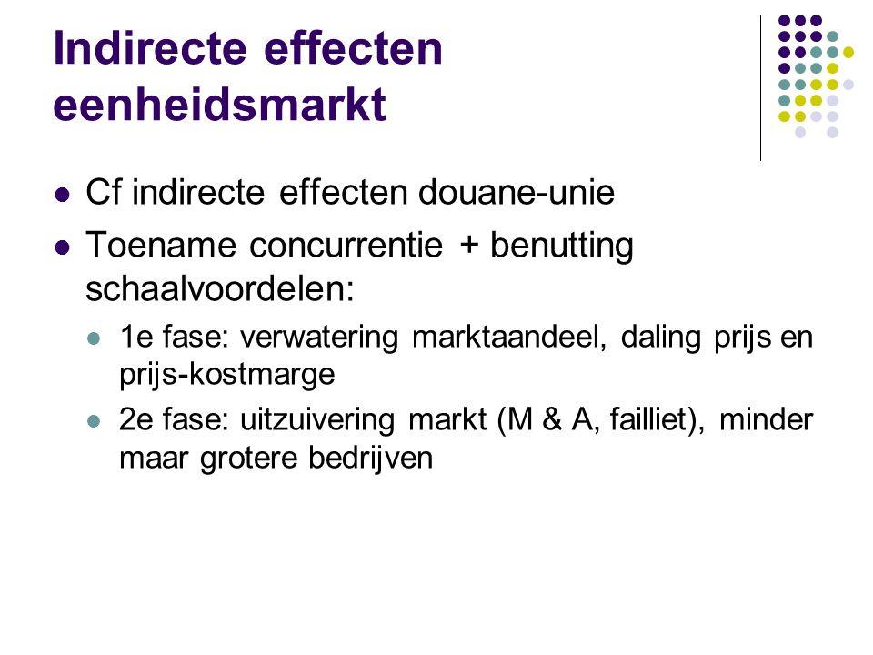 Indirecte effecten eenheidsmarkt