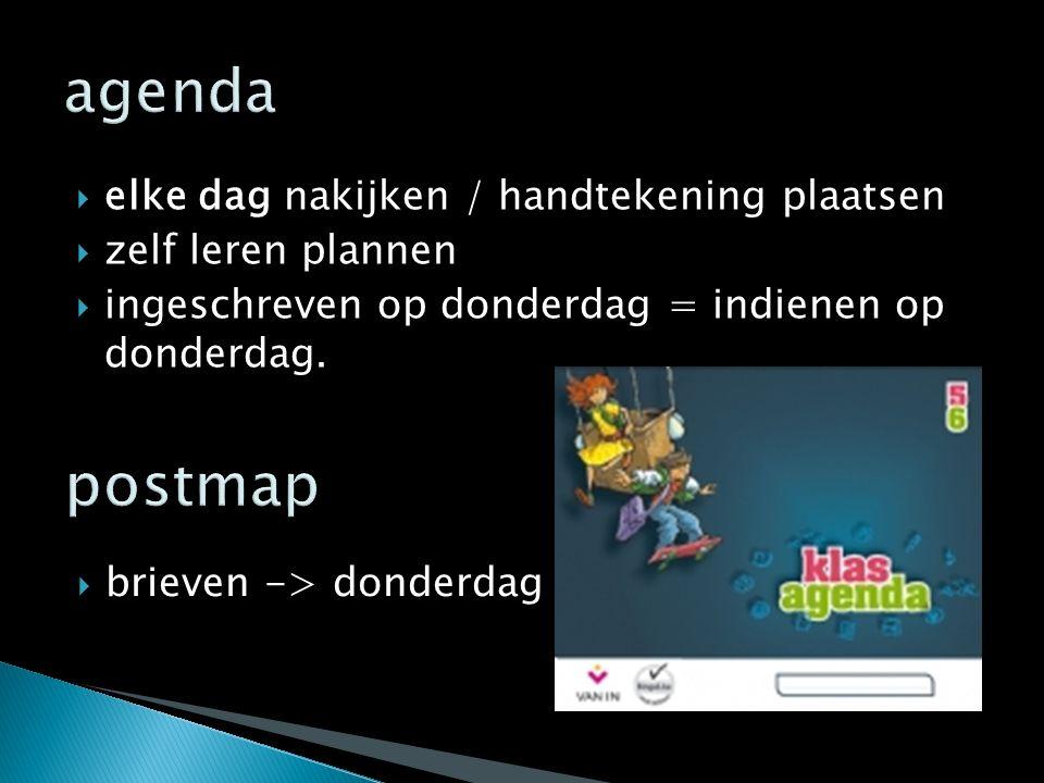 agenda postmap elke dag nakijken / handtekening plaatsen