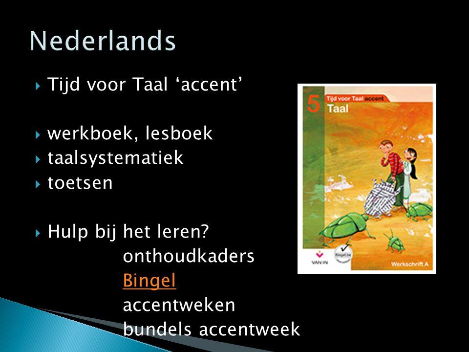 Nederlands Tijd voor Taal 'accent' werkboek, lesboek taalsystematiek