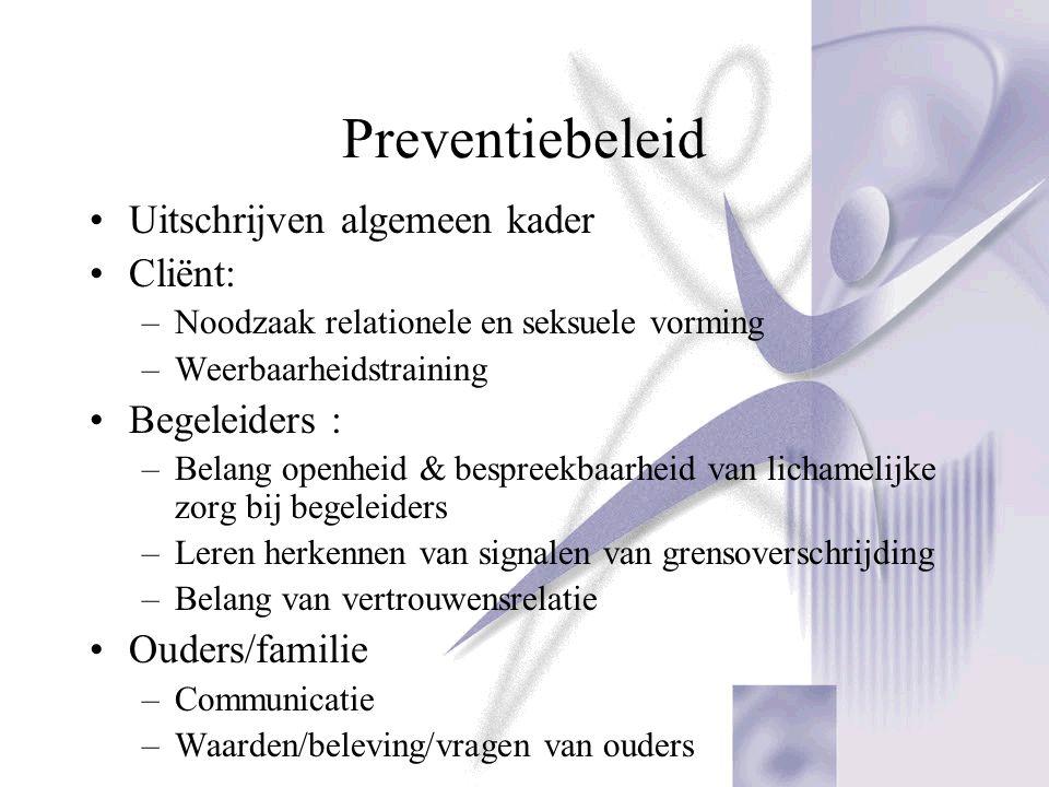 Preventiebeleid Uitschrijven algemeen kader Cliënt: Begeleiders :