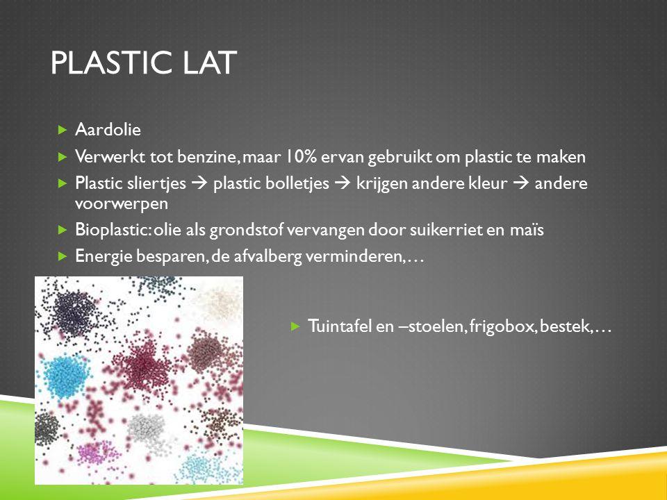 PLASTIC LAT Aardolie. Verwerkt tot benzine, maar 10% ervan gebruikt om plastic te maken.