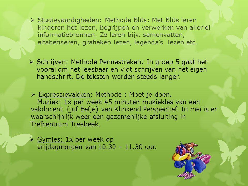 Studievaardigheden: Methode Blits: Met Blits leren kinderen het lezen, begrijpen en verwerken van allerlei informatiebronnen. Ze leren bijv. samenvatten, alfabetiseren, grafieken lezen, legenda's lezen etc.