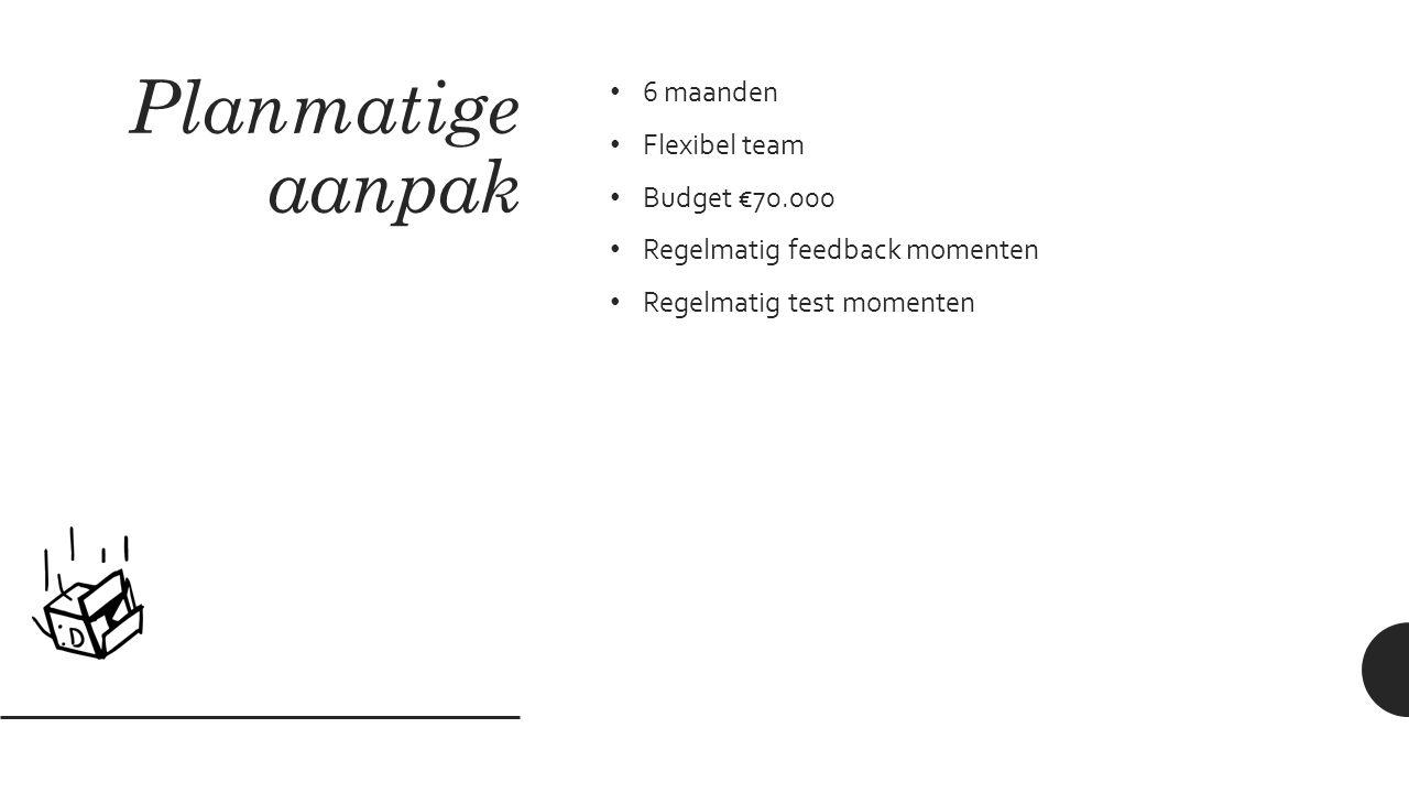 Planmatige aanpak 6 maanden Flexibel team Budget €70.000