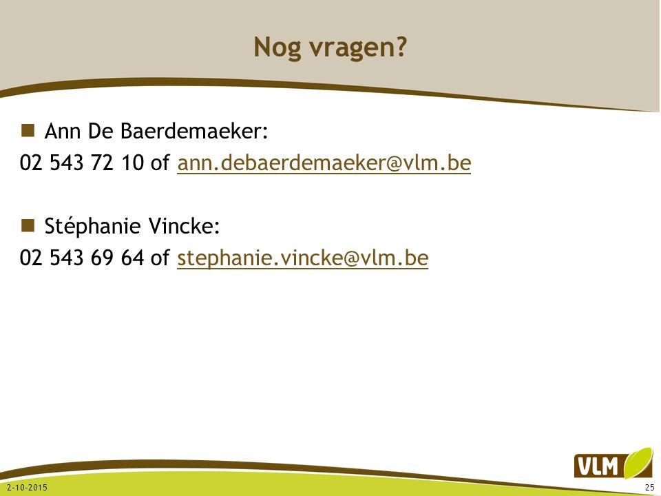 Nog vragen Ann De Baerdemaeker: