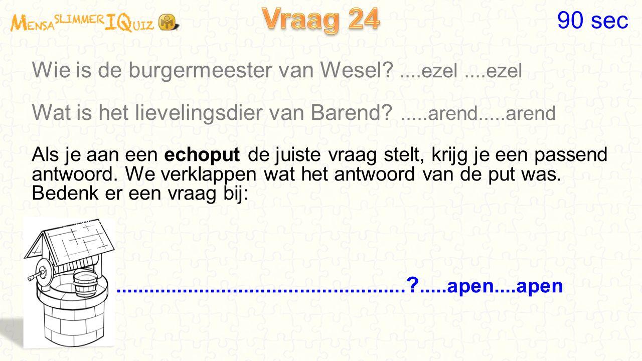 Vraag 24 90 sec Wie is de burgermeester van Wesel ....ezel ....ezel