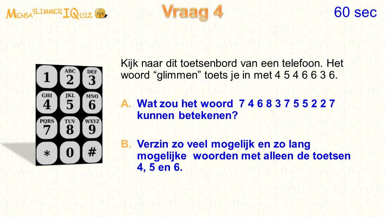 Vraag 4 60 sec. Kijk naar dit toetsenbord van een telefoon. Het woord glimmen toets je in met 4 5 4 6 6 3 6.