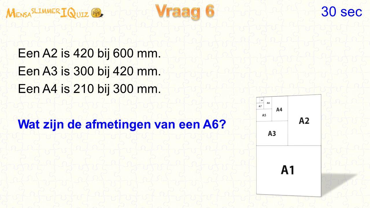 Vraag 6 30 sec Een A2 is 420 bij 600 mm. Een A3 is 300 bij 420 mm.