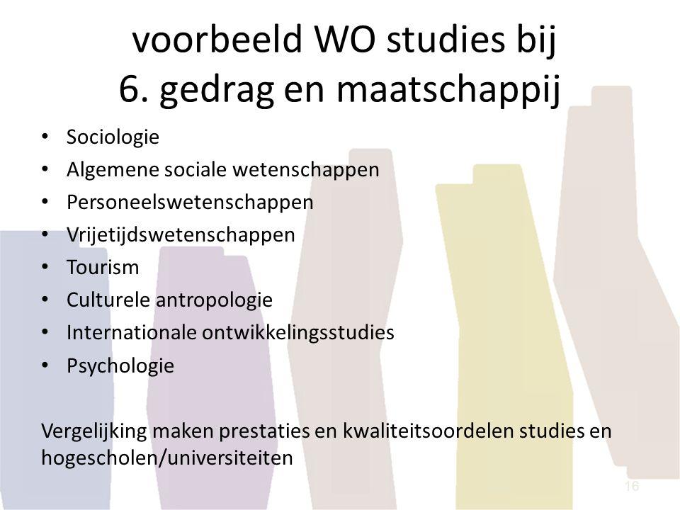voorbeeld WO studies bij 6. gedrag en maatschappij