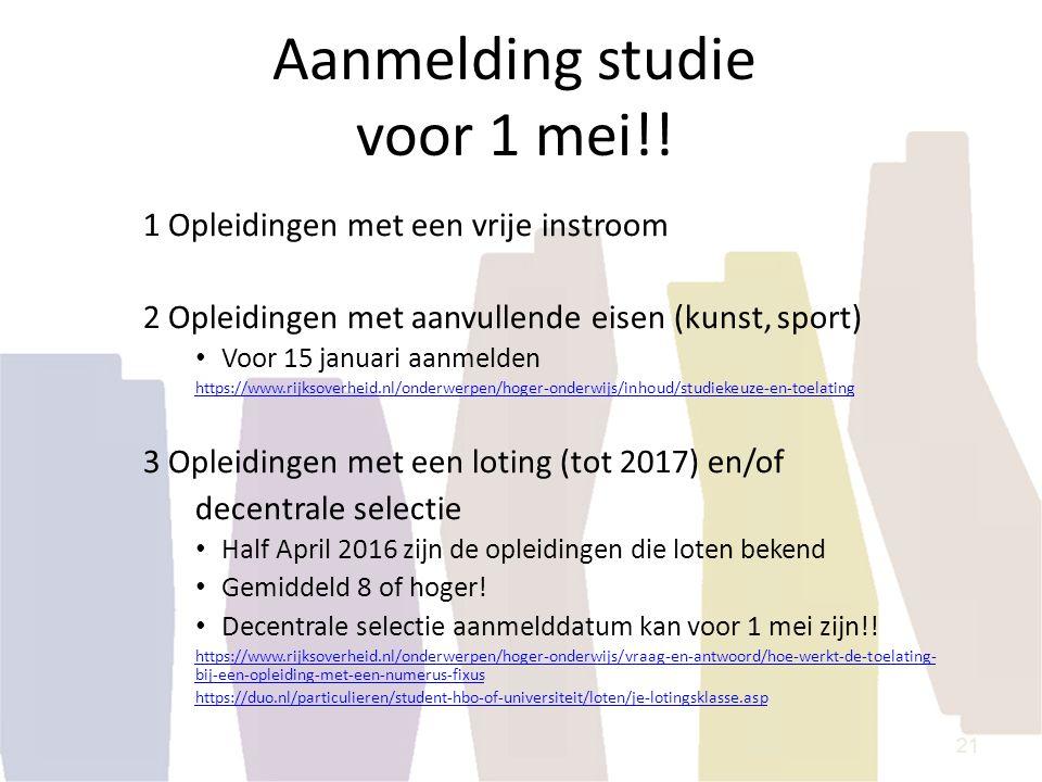 Aanmelding studie voor 1 mei!!