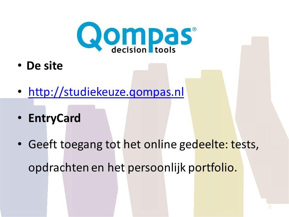 De site http://studiekeuze.qompas.nl. EntryCard.