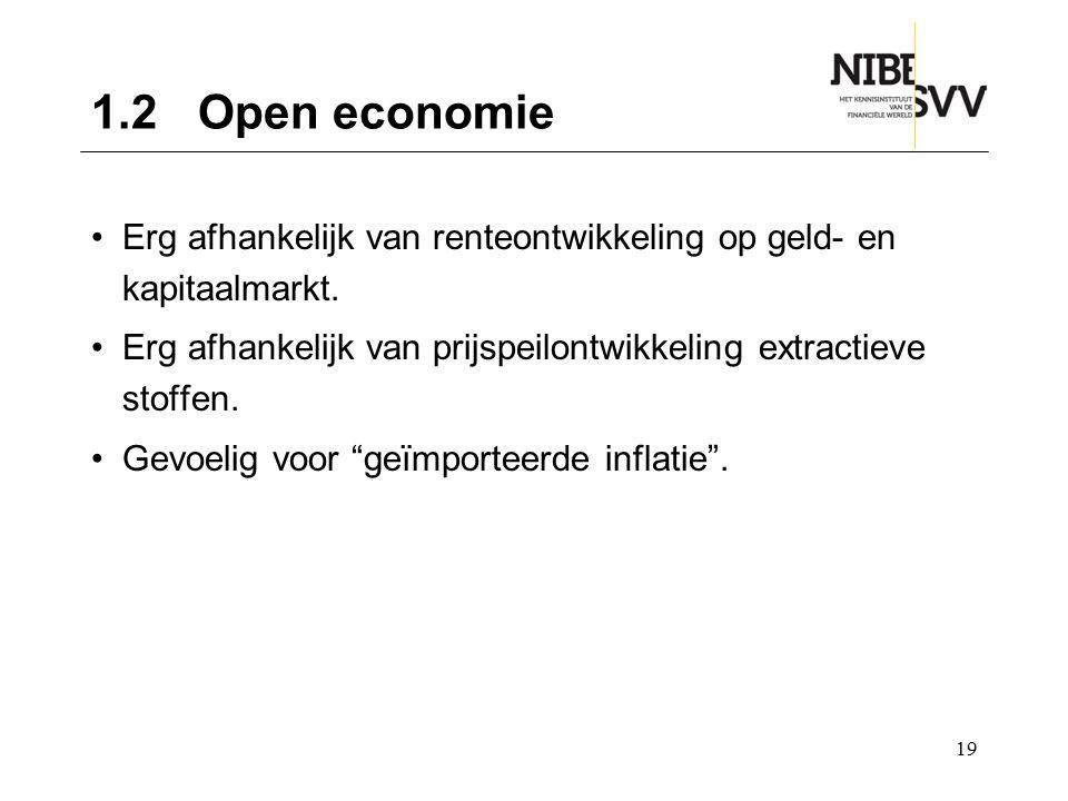 1.2 Open economie Erg afhankelijk van renteontwikkeling op geld- en kapitaalmarkt. Erg afhankelijk van prijspeilontwikkeling extractieve stoffen.